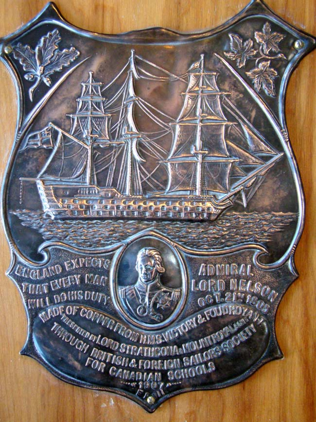 click to view larger image of A fine and historic plaque made from copper removed from H M S Victory and H M S Foudroyant