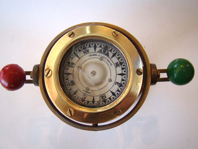 click to view larger image of A fine small ship's compass on stand by Coubro & Scrutton of London circa 1920
