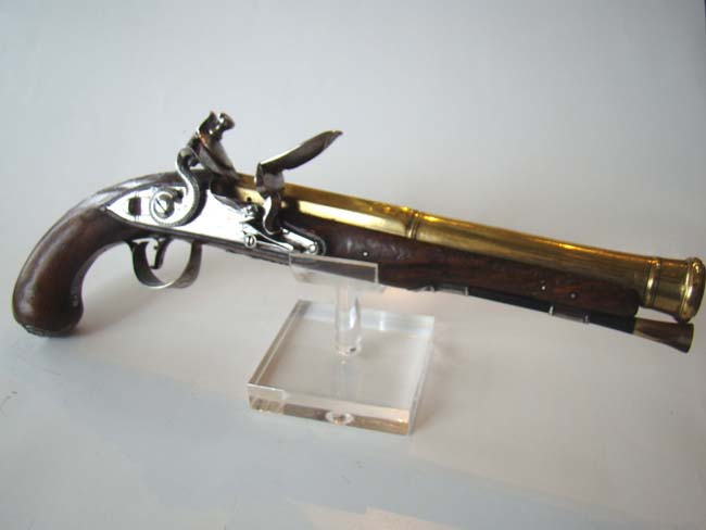 click to view larger image of A Revolutionary War period silver mounted brass barreled flintlock Naval officer's pistol