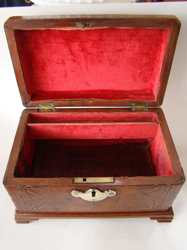 click to view larger image of A fabulous antique English tea caddy box dated 1772