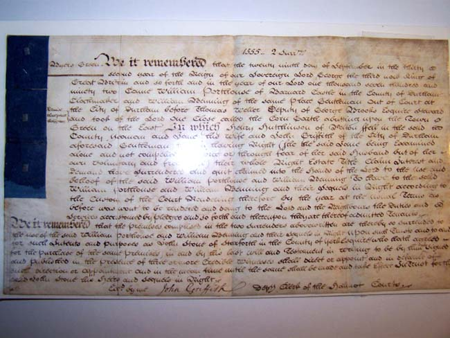 click to view larger image of An 18th century English legal document recording a sale of property on Septemeber 29, 1792