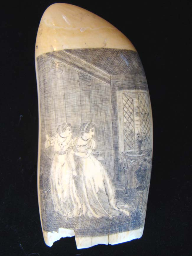 click to view larger image of A highly detailed and beautiful 19th century scrimshaw whale's tooth circa 1840