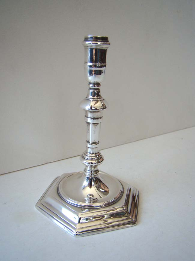 click to view larger image of A fine English Sterling Silver Taperstick by James Gould, London, 1723