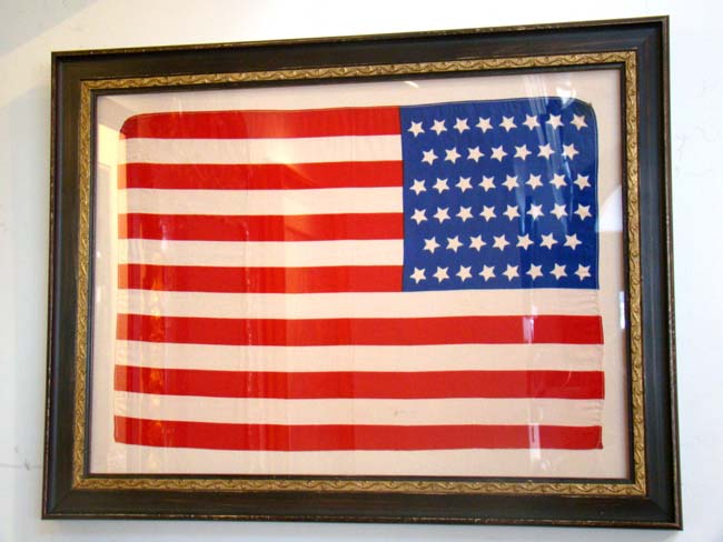 click to view larger image of A beautiful silk 46 star flag in the