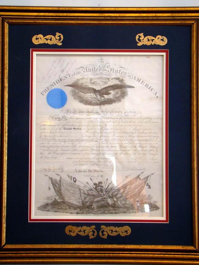 click to view larger image of A fine framed Abraham Lincoln signed Civil War military commission dated Feb. 21, 1862