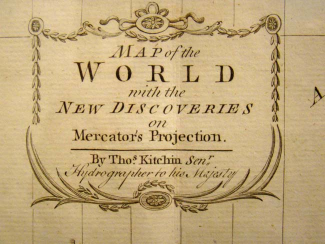 click to view larger image of Thomas Kitchin's Map of the World published in 1789