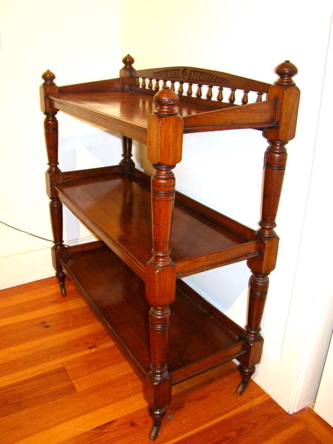 click to view larger image of A fine English mahogany three-tiered server or etagere circa 1860