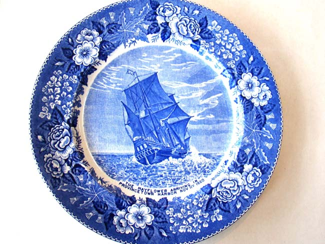 click to view larger image of A souvenir plate circa 1935 depicting the Mayflower arriving in Provincetown Harbor
