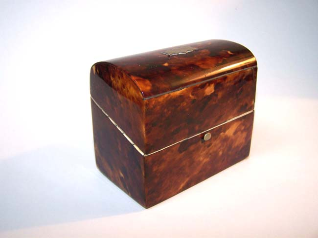 click to view larger image of A 19th century Tortoiseshell Scent Bottle Casket with Domed Top circa 1860