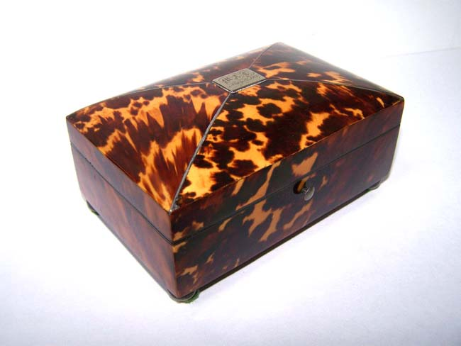 click to view larger image of An early Victorian Tortoiseshell Sewing Box dated May 12, 1837