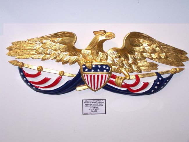 click to view larger image of A hand carved Eagle by J.P. Uranker of Martha's Vineyard
