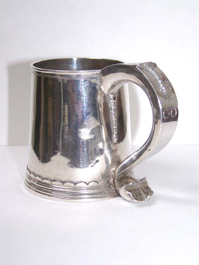 click to view larger image of A Fine and Rare Child's Silver Cann (Tankard), maker AB, probably New York, circa 1700