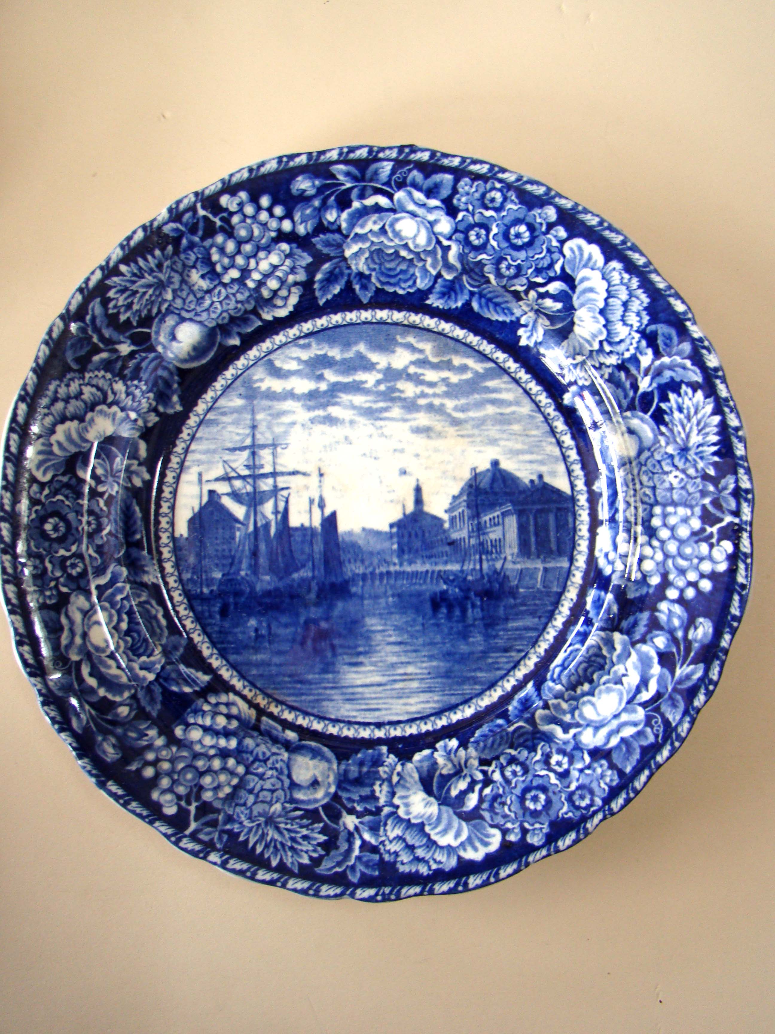 click to view larger image of An historical Staffordshire plate depicting Faneuil Hall as seen from Boston harbor