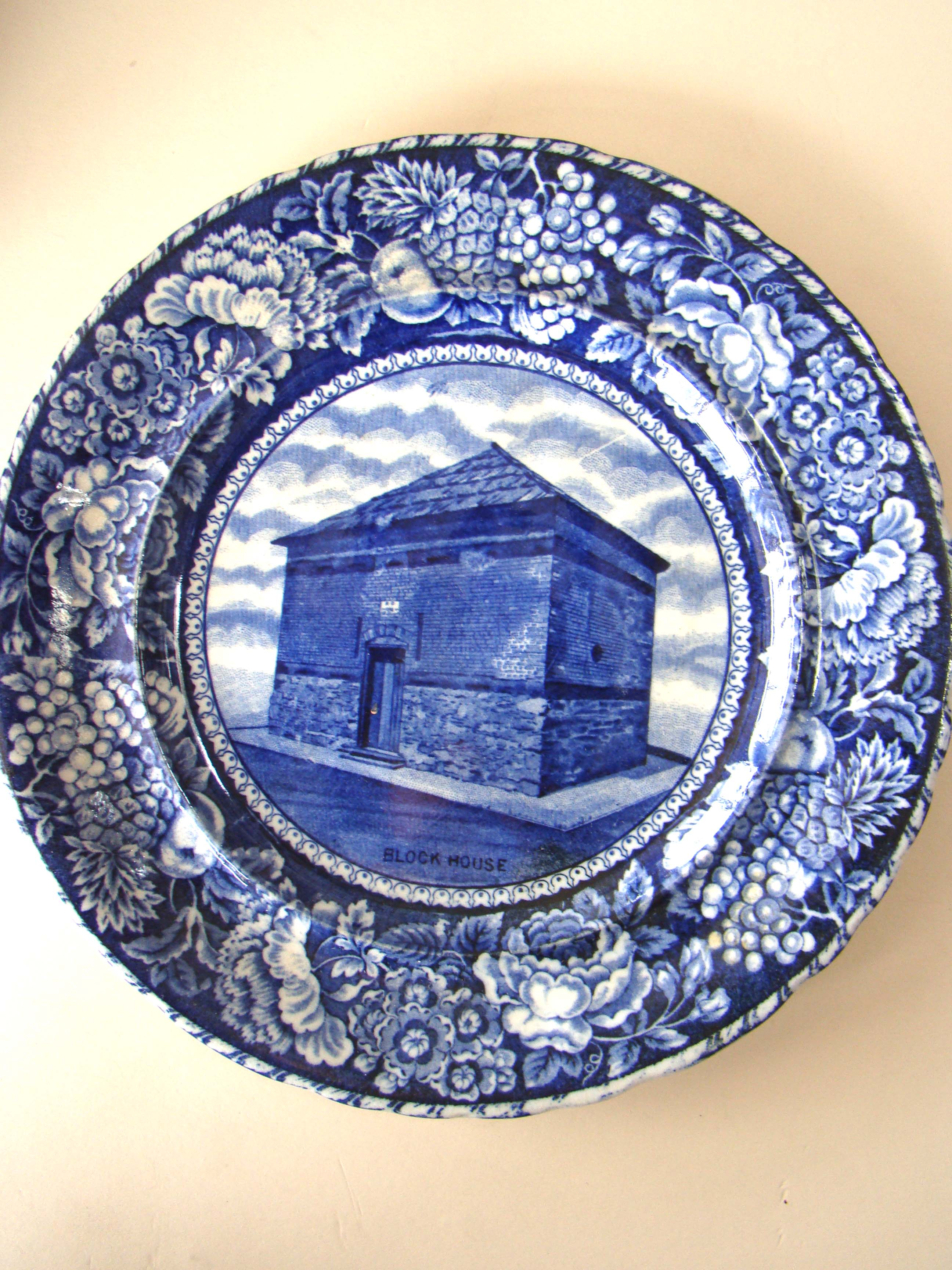 click to view larger image of An historical Staffordshire plate depicting the Block House (Customs Building) built in 1845 on Long Wharf in Boston.