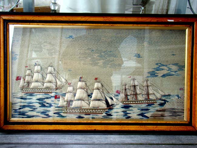 click to view larger image of Perhaps the best multi ship sailors' woolwork picture on the market today!! Circa 1850-1870.