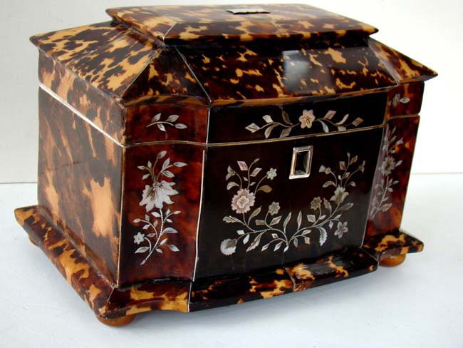 click to view larger image of An English Regency period double serpentine fronted Tortoiseshell Tea Caddy box circa 1825