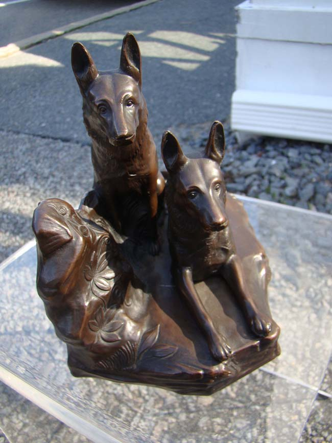 click to view larger image of A very fine pair of German Shepherd bookends made by Jennings Brothers of Meriden, CT., circa 1930