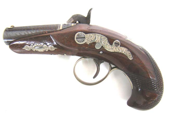 click to view larger image of An EXCELLENT near mint condition Silver Banded and Engraved Philadelphia Pocket Derringer circa 1845 to 1871.
