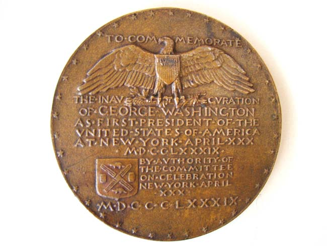 click to view larger image of A George Washington bronze medallion made in 1889 to commemorate the Centennial of his inauguration in 1789