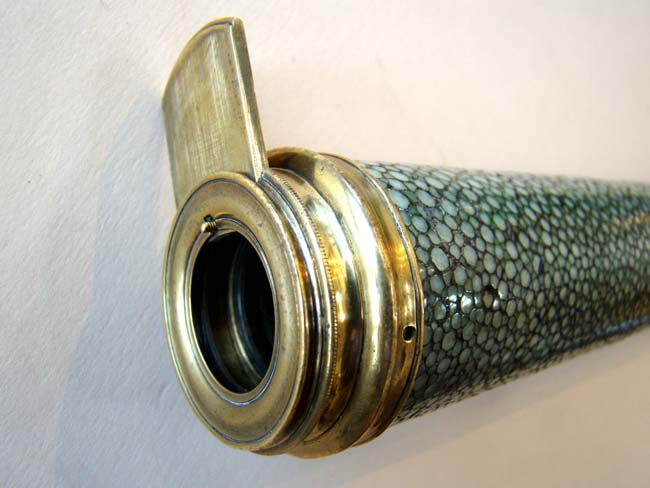 click to view larger image of A RARE and early Peter and John Dollond shagreen and card three-draw telescope circa 1760-1780