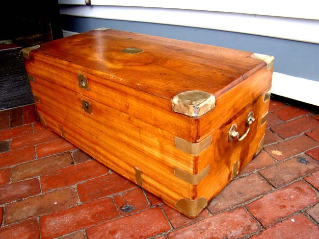 click to view larger image of A fine brass mounted China Trade period camphorwood trunk circa 1830