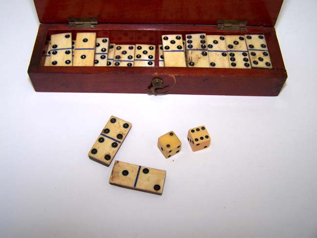 click to view larger image of A 19th century miniature cased set of dominoes
