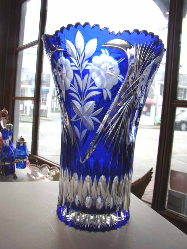 click to view larger image of An attractive vintage cobalt blue hand-cut lead crystal vase made in East Germany circa 1960