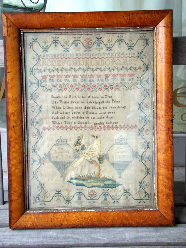 click to view larger image of An English Schoolgirl Needlework Sampler signed