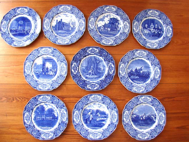 click to view larger image of A fine set of 10 George Washington Bicentenary Commemorative Plates made in 1932 by Crown Ducal