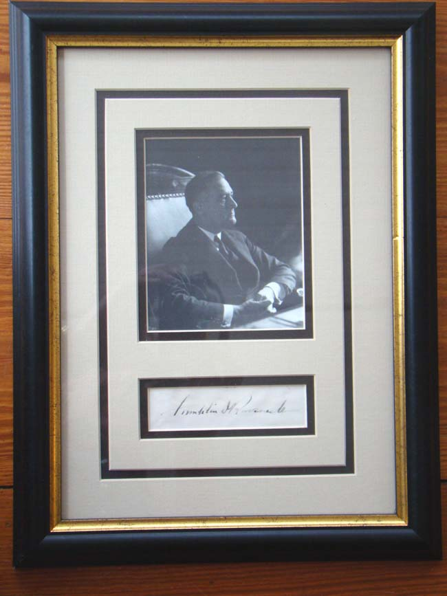 click to view larger image of A framed photograph and signature of President Franklin D. Roosevelt circa 1935-1940