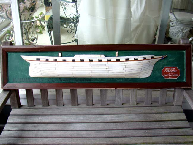 click to view larger image of A 20th century  English Ivory Hulled Half Hull Model of the Iron ship 'Corinnas' built in 1852