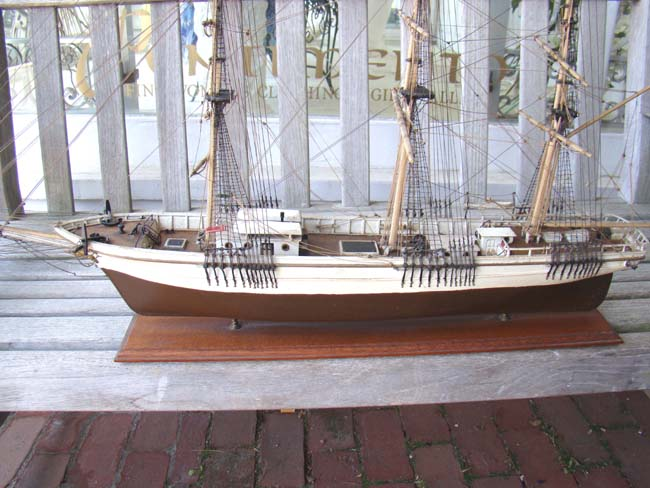 click to view larger image of An antique model of the three-masted ship SAM SKOLFIELD built at Brunswick, Maine, in 1883