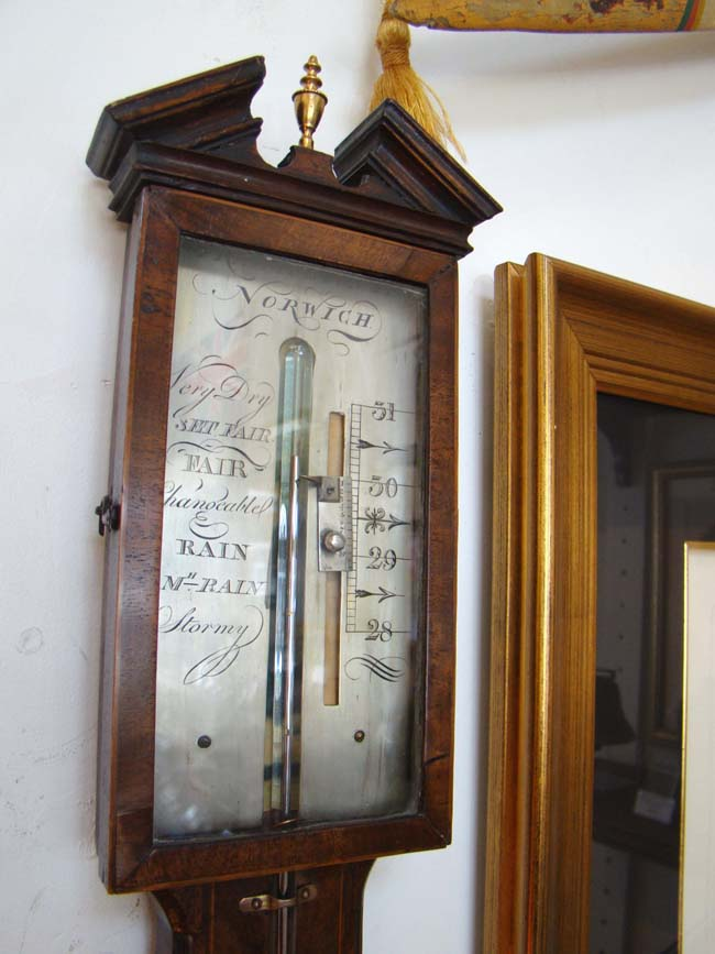 click to view larger image of A beautiful early 19th century mahogany stick barometer by Francis Molton of Norwich, England, circa 1822-1830
