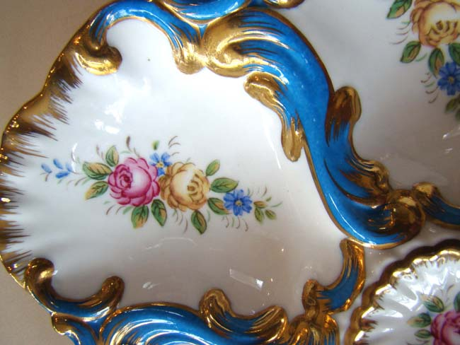 click to view larger image of An extremely beautiful hand painted vintage Limoges oyster plate circa 1900