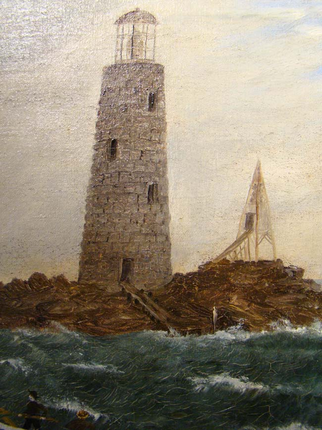 click to view larger image of A 19th century oil on canvas depicting a sloop in rough water near a rocky shoreline with a lighthouse and other ships in the background.