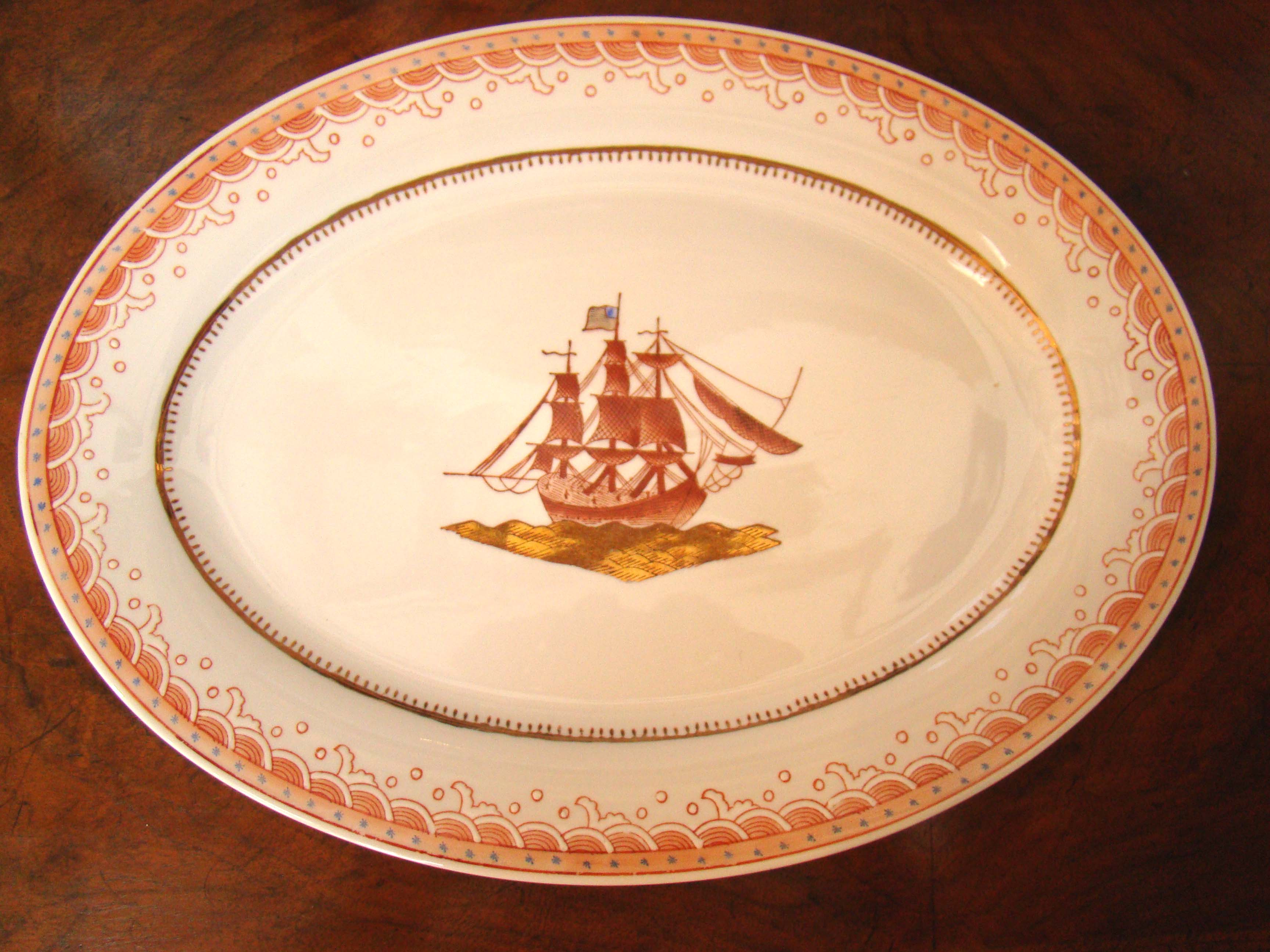 click to view larger image of A fine 18th century style Chinese Export serving platter and cake plate