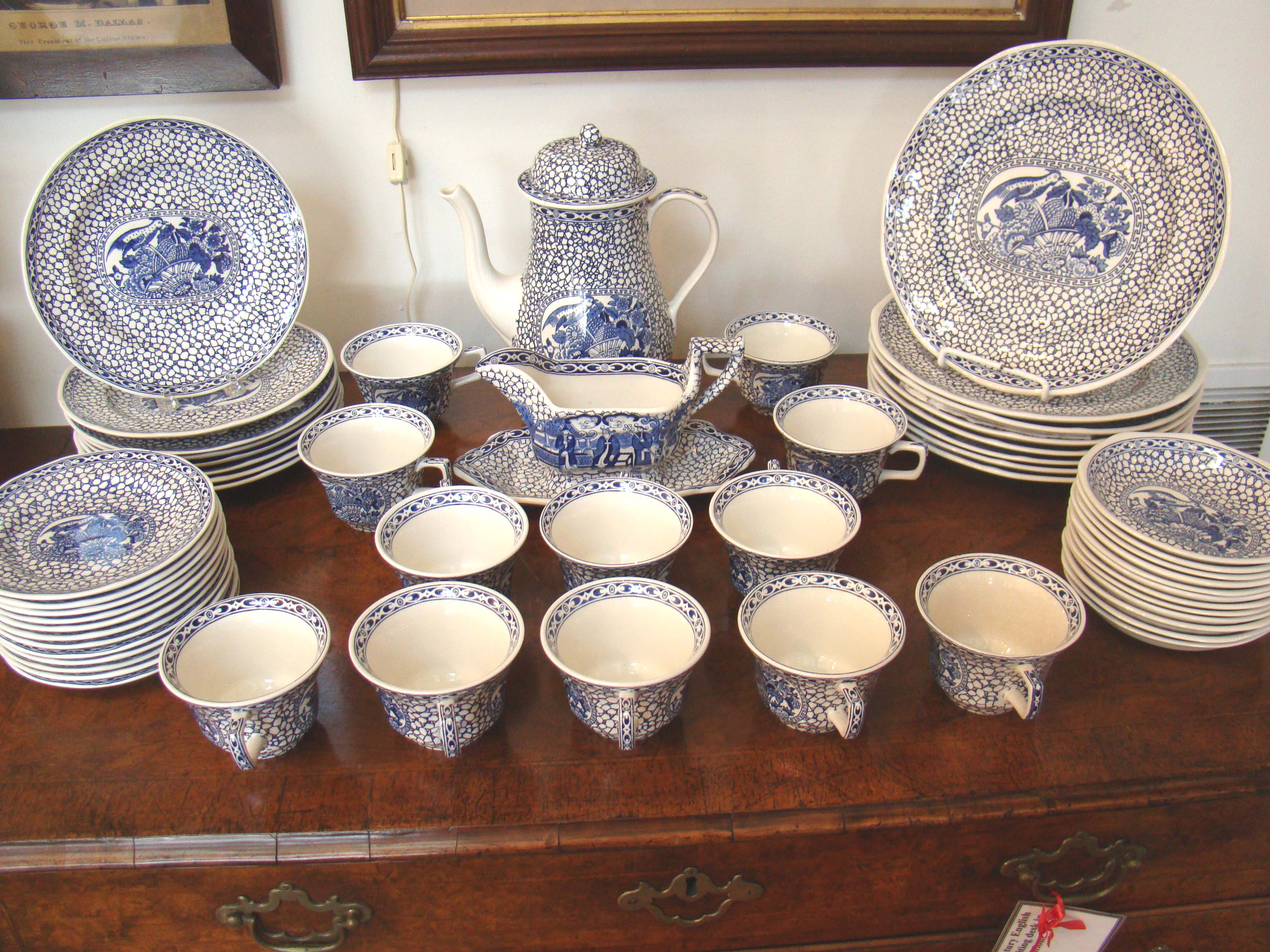 click to view larger image of A fine Chinese Bird dinner service by William Adams based on a set first made in 1780
