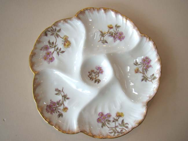 click to view larger image of A fine early Limoges bone china oyster plate by Charles Havilland circa 1882