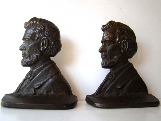click to view larger image of A pair of Lincoln bookends made by The Connecticut Foundry circa 1929