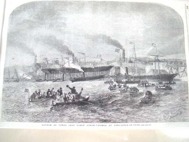 click to view larger image of The launching of three Steam Ships at Newcastle-on-Tyne as depicted in the Illustrated London News March 22, 1856
