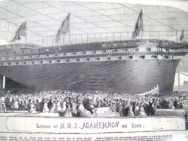 click to view larger image of A 19th century steel engraving of the Launch of H M S Agamemnon printed in The Illustrated London News May 29, 1852
