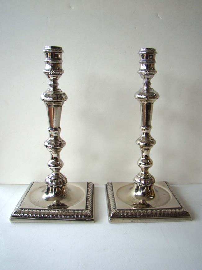 click to view larger image of A rare pair of Chinese paktong candlesticks circa 1760
