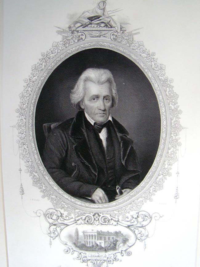 click to view larger image of A 19th century steel engraving of President Andrew Jackson published in 1860