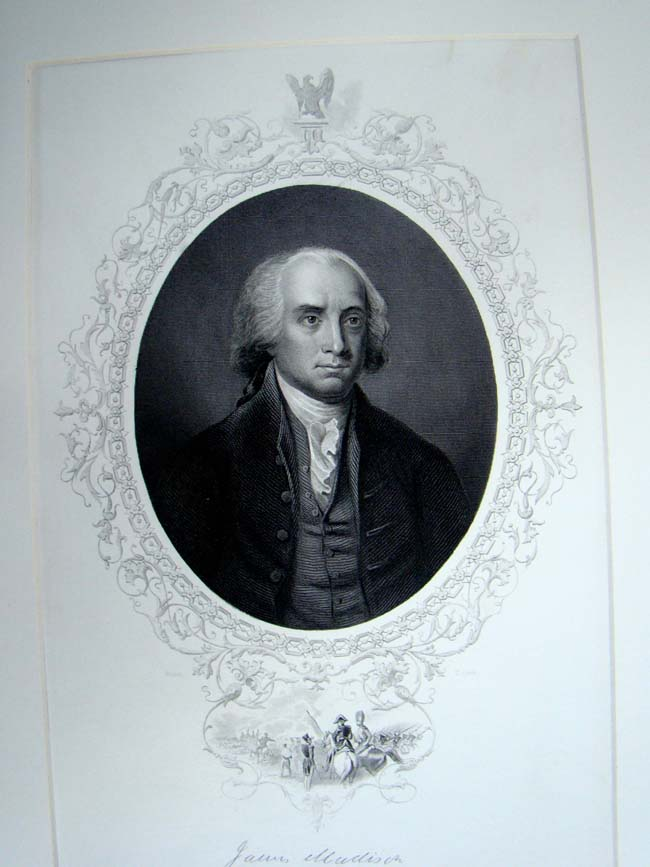 click to view larger image of A 19th century engraving of President James Madison published in 1860