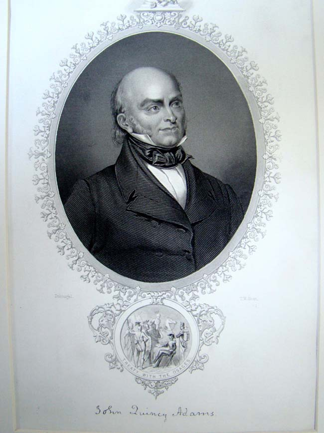 click to view larger image of An antique engraving of President John Quincy Adams published in 1860