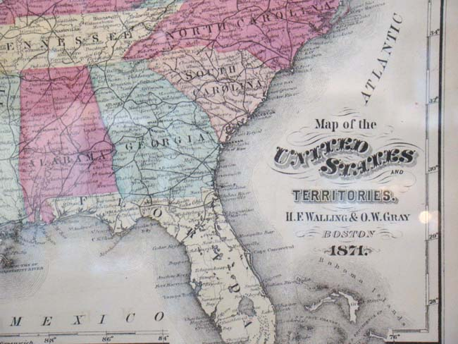 A beautifully framed Map of the United States published by Walling ...