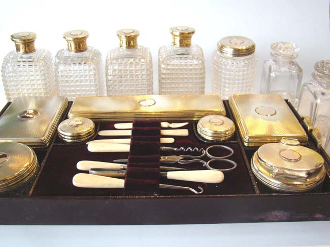 click to view larger image of The RARE contents of an English gentleman's dressing box hallmarked for the year 1828