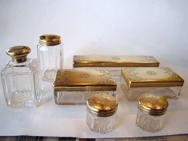 click to view larger image of A magnificent English Victorian Gentleman's Dressing Set hallmarked for 1863