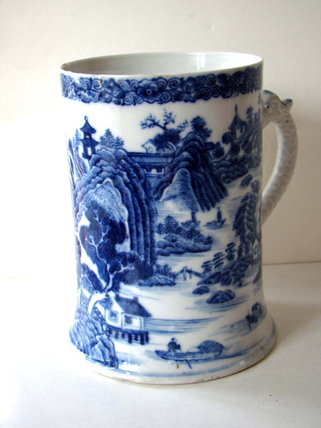 click to view larger image of A rare Chinese export porcelain Tankard with Dragon handle circa 1760-1780