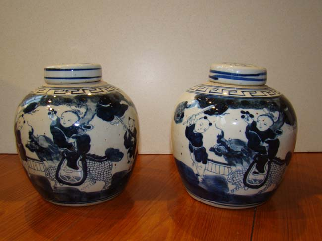 click to view larger image of An attractive pair of Chinese Ginger jars